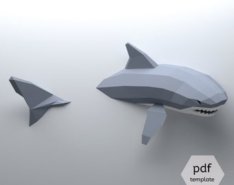 Low Poly Shark Model, Create Your Own 3D Papercraft Shark, Origami Shark, Great White Shark, Shark Lover, Shark Week, Cool Dorm Decor