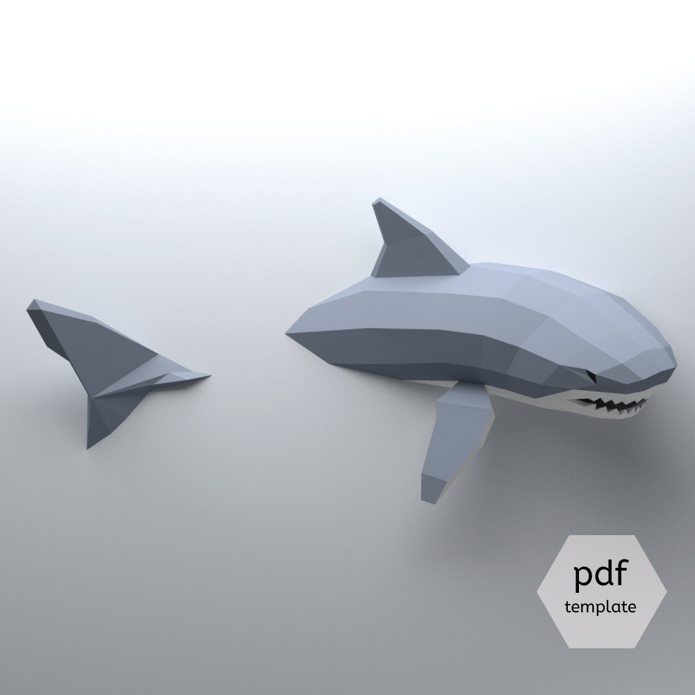 Low Poly Shark Model Create Your Own 3D Papercraft Shark