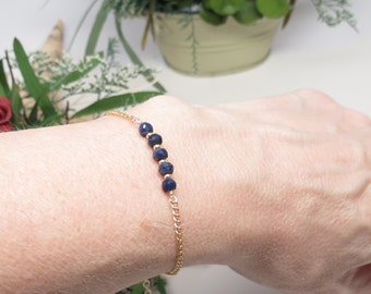 Blue Sapphire Bracelet, September Birthstone, Blue Gemstone Bracelet In 14K Gold Filled, 6.75-8 Inches, Keira's Crystal Creations