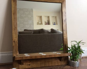 Large Reclaimed Mirror, Pallet Mirror, Rustic Mirror, Pallet Wood, Bathroom Mirror, Hallway Mirror, Reclaimed Wood, Handmade Mirror, Candles