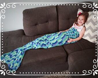 Mermaid Tail  Kids or Adult Crochet Afghan Blanket Sack