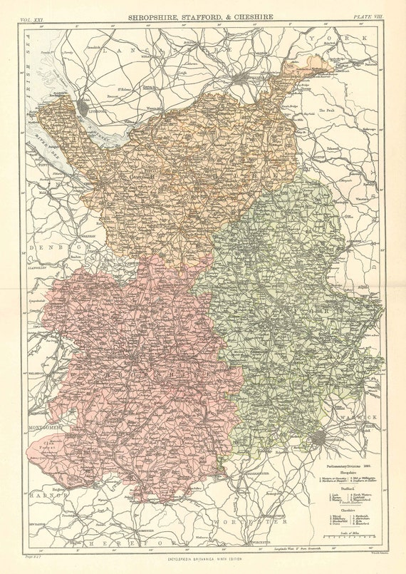 Antique Map Shropshire Stafford Cheshire England From 9th