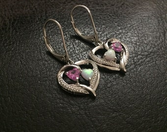 Opal Heart Pink Tourmaline Sterling Silver Heat Dangle earrings