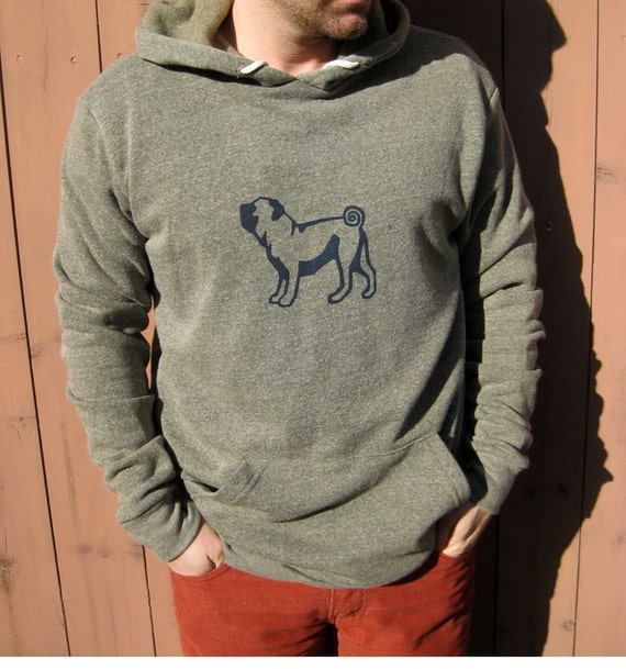 Pug Hoodie, Dog Sweater, Men's Pullover, Gift for a Guy, Pug Gift, Cozy Hoodie, S-XXL