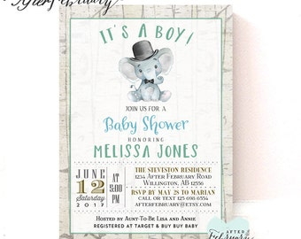 Rustic Elephant Baby Shower Invitation Little Peanut Baby Shower Invite  Elephant Printable // Printable OR Printed No.1470BABY