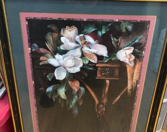 Homco Home Interiors White Magnolias Leaves22.5 x 26.5 Framed Picture Wall Decor