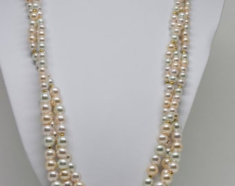 Multi Color Faux Pearls Beaded Necklace