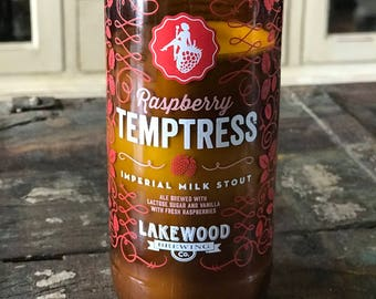 Macintosh Apple Scented Soy Candle, Upcycled 22 oz Bomber Bottle, Recycled Craft Beer Bottle, Lakewood Brewing, Temptress
