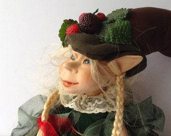 Porcelain Doll Elf-Girl With Blond Braids by Avalon, Italy