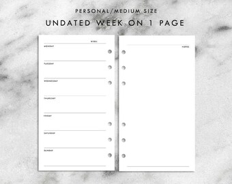 Personal Size Undated Week on 1 Page Printable Planner Inserts