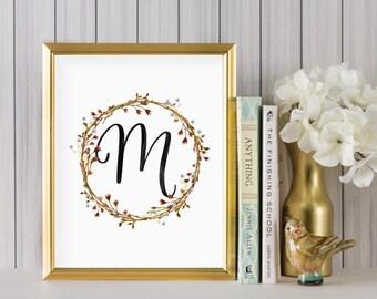 Instant Download - Wreath Initial Print - Monogram letter M print - Letter Print - Letter M printable - Floral Monogram - Initial Print