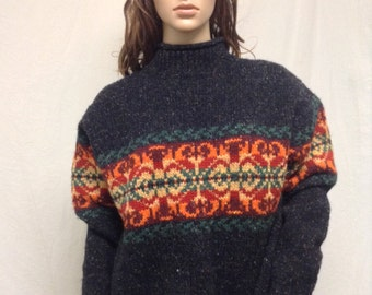 Wool sweater,medium,100% Wool ,Sweater, Newton Trading,women's medium,gray,black,orange,yellow,green