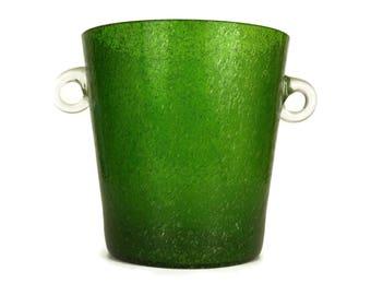 Green Glass French Champagne Bucket. Art Glass Wine Chiller Ice Bucket.