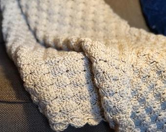 Hand Crocheted Warm Taupe Afghan Throw