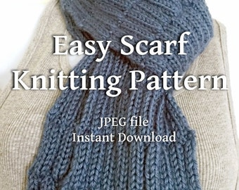 Scarf Knitting Pattern Country Blue Textured Scarves Beginner Knitters EASY Scarf Tutorial - Sell What You Make Instant Download JPEG File