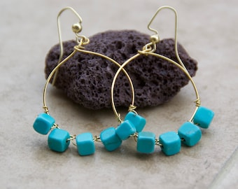Turquoise Square Bead Earrings Wrapped on Golf Hoop