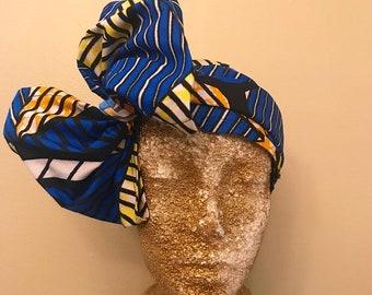 Blue Kuchena Half Head Wrap