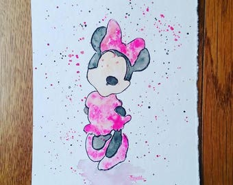 "Minnie Mouse watercolor painting (5""x7"")"