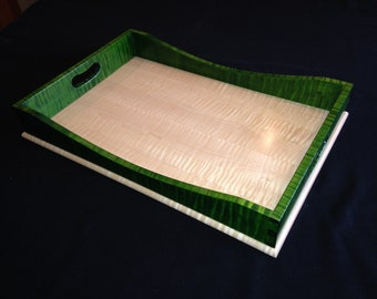 Green & Clear Tiger Maple Two-Tone Tray