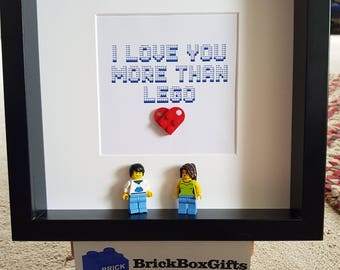 I Love You more than lego Lego 3d Frame Shabby Chic Present Gift