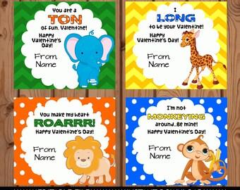 Zoo Valentine, Zoo Animal Valentine, Animal Valentine Card, Zoo Animal Valentines, Lion Valentine, Elephant Valentine, Editable Valentine