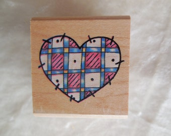 Heart Stamp, Never Used, Rubber Stampede Rubber Stamp Heart Country Patchwork Quilt, Patchwork Quilt Stamp, Quilt Stamp