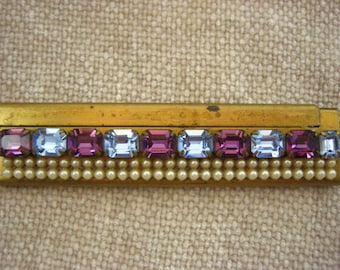 Vintage 1950's Wiesner of Miami Trickettes Faux Pearl Rhinestone Evening Bag Comb