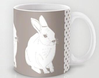 Rabbit Mug, Bunny Mug, Easter Mug, Animal Mug, Ceramic Coffee Mug 11 oz or 15 oz, microwave dishwasher safe coffee cup, large coffee mug