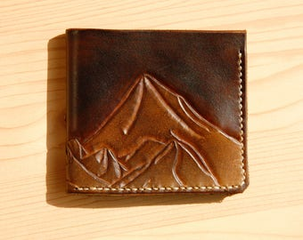 Mountains carving leather wallet. Free shipping.