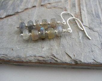 Labradorite  Sterling Silver Earrings - Stacked Labradorite Earrings - Gray/Blue Sterling Silver Earrings