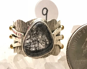 Black Tourmalinated Quartz  Ring, Size 9