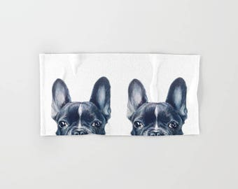 French Bulldog , Hand, bath, Beach Towel, original painting design