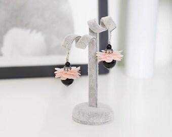 Black earrings, Women's earrings, Agate earrings