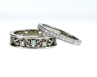 Filigree engagement ring set with diamonds and aquamarine, engagement ring, white gold, wedding band, half eternity, aquamarine, wedding