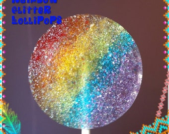 Rainbow Glitter Lollipops hard candy lollipop favors 2 inch wedding favors