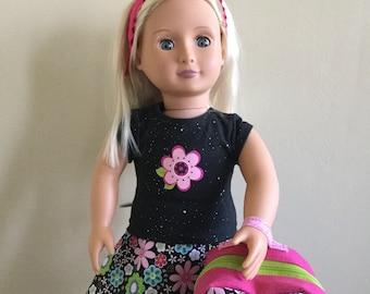 "Backpack, Graphic Tee, Reversible Wrap Skirt, Leggings & Headband for 18"" Dolls (American Girl, Our Generation, etc.)"