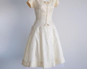 As Is -Ivory Brocade Dress - Sz xS