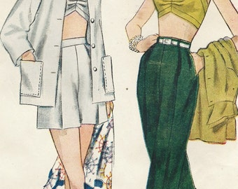 1950s Womens Jacket, Bra, Shorts & Pedal Pushers Simplicity Sewing Pattern 3250 Size 16 Bust 34 UnCut Vintage Rockabilly Pin Up Patterns