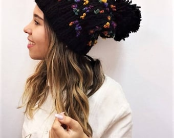 Slouchy knit hat Slouchy beanie knit hat hand knit hat wool hat pom pom beanie winter hat winter beanie christmas gift gift for her