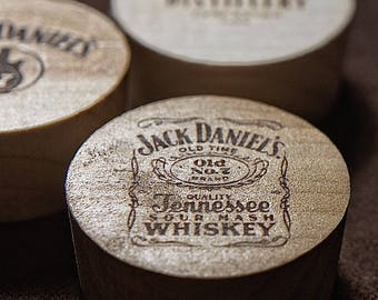Laser Engraved Bourbon Barrel Bung Refrigerator Magnets.