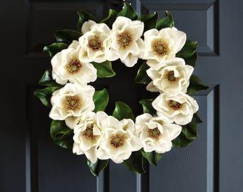 Blossoming Magnolia Wreath | Wedding Wreaths | Wedding Decorations | Front Door Wreaths | Magnolia Blossoms | Wedding Decor