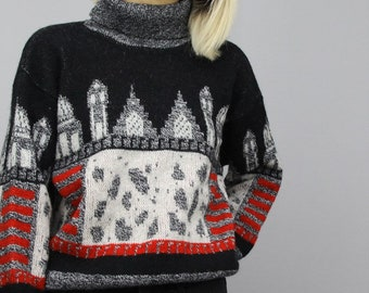Vintage Patterned Jumper Retro 80s 90s Oversized Polo Neck Sweater