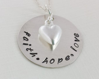 Personalized Necklace / Hand Stamped Jewelry / Personalized Jewelry / Faith Hope Love Word Jewelry / Inspirational Necklace / Mom Jewelry