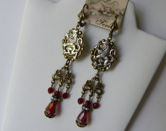 Scottish Lion Earrings, Coat of Arms Heraldic Renaissance Earrings, Medieval Long Chandelier Red Tudor Earrings, ©2018DonnaJameson