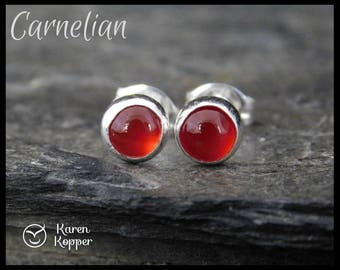Red carnelian earrings, 5mm gemstone cabochon, sterling silver bezel, second earrings, stud earrings, ready to ship. 130