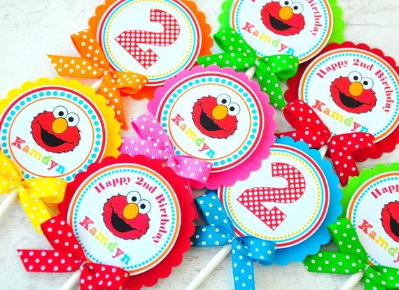Elmo Cupcake Toppers Elmo Birthday Party Elmo Cupcake