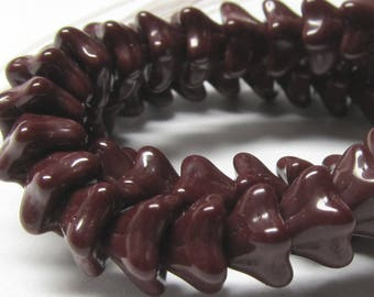 Czech Glass Beads 8 X 6 Opaque Shiny Burgundy Red Bell Flowers - 25 Pieces