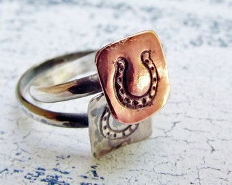 Stackable Horseshoe Ring - Copper and Silver - Horseshoe Ring - Gift For Her