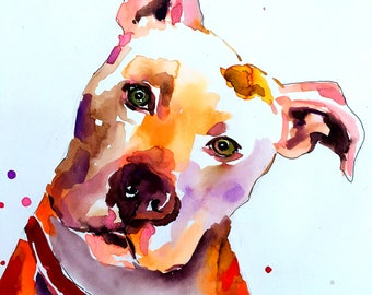 Custom Dog portrait Custom Dog Painting Custom Pet portrait Watercolor Painting Original Painting Memorial Art Custom Pit Bull Portrait