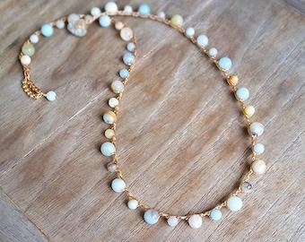 Crochet Beach Jewelry, Simple No Pendant Amazonite Short Necklace, Destination Honeymoon Gift, Boho Chic Ocean Layering, Made in Hawaii